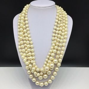 J CREW Pearl Beaded Necklace Twisted Hammock